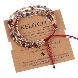 Jewelry Classic Woven Seed Bead chain Crystal Beads Handmade Strand bracelet