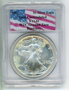 1993 PCGS WORLD TRADE CENTER RECOVERY WTC SILVER EAGLE GEM UNCIRCULATED