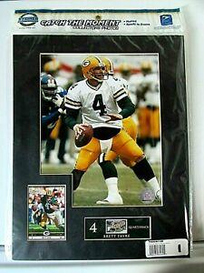 """Brett Favre """"Catch the Moment"""" Matted Print Card & Collector Postage Stamp NEW"""