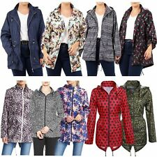 Womens Printed Polyester Water Proof Hooded Fishtail Parka Mac Jackets Raincoats