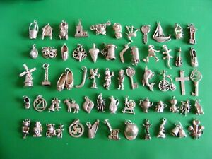 D) VINTAGE STERLING SILVER CHARMS CHARM SHOE TAXI WELL MASK CROSS THRONE TEDDY
