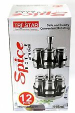 Revolving Metallic Spice Rack with 12 Jars Stainless Steel with Bottle CAROUSEL-
