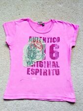 IKKS, KIDS DESIGNER BRAND/ PINK T-SHIRT TOP/ AGE 7-8/ WITH APPLIQUÉ/ HOLIDAY