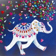 Mila Marquis Postkarte 14x14 Elefant trompetet Herz-Blumen Grußkarte Lack Herzen