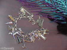 Vintage Sterling Silver Charm Bracelet 18 Charms Pearl Rabbit Flute Surfer 60Gr