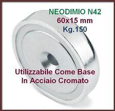 1 MAGNETE Base Acciaio 60x15 N42 Kg.150 con foro svasato super potente NEODIMIO