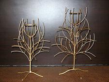 """Set 2 portacandele alberi stilizzati in ferro color oro """"POINT A LA LIGNE"""""""