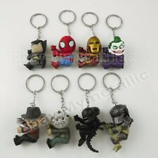 8pcs Batman Ironman Joker Jason Freddy Alien Predator PVC Figure Key Ring Chain