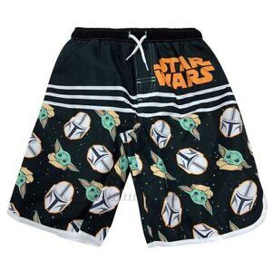 Baby Yoda Size 4 - 16 Boys Swim Trunks Star Wars Mandalorian Swimsuit Shorts NWT