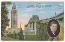 Louisiana c1940 State Capitol Bldg, Baton Rouge, Huey P Long Bridge, New Orleans