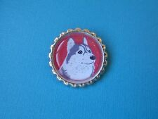 Handmade Husky Dog Badge Bottle Cap Puppy Brooch Silver Tone Red Siberian