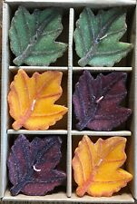 Vintage Set of 6 Floating Candles Leaves Leaf Shaped Fall Harvest New Open Box