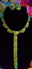 Vintage Lisner Lime Green Lava Moonrock Parure Set Necklace, Bracelet & Earrings
