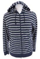 Old Navy Men Nautical Blue Striped Hooded Full Zip Sweatshirt Jacket Hoodie Sz M