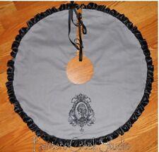 "Skull Cameo Embroidered Tree Skirt, Lamp Skirt 26"" dia Halloween,Goth, Prim"
