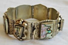 Vintage Mexican Sterling Silver & Abalone Aztec Bracelet