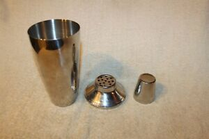 3 Piece, Stainless Steel Cocktail Martini Mixed Drink Shaker Mixer Strainer.