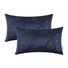 2Pcs Navy Blue Cushion Cover Bolster Case Reversible Striped Circle Sofa 30x50cm