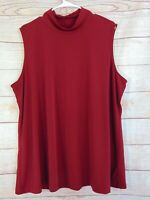Susan Graver Modern Essentials Liquid Knit Mock Neck Top Deep Wine 2X A310078