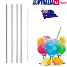 4x Stainless Steel Metal Drinking Straw Straws Bent Reusable Washable 1 Brush