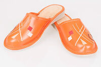 Ladies/Women`s 100% Natural leather slippers size:3, 4, 5, 6, 7, 8. Orange