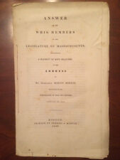 1840 Massachusetts pamphlet, Answer to Whig Members, Marcus Morton, Boston 1st