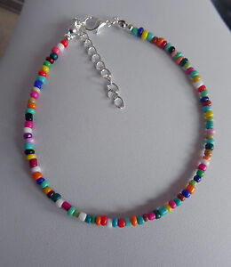 glass bead anklet bracelet mixed COLOURS ankle chain RAINBOW seed bead