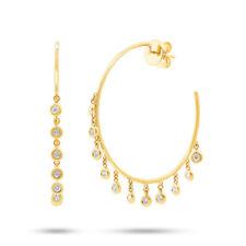 0.64 CT 14K Yellow Gold Natural Round Bezel Shaker Dangle Diamond Hoop Earrings