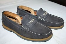 SPANISH LEATHER SUPERB QUALITY BOAT DECK SHOES BLUE WITH SILVER STITCHING IN 43