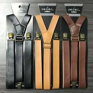 "3x Assorted Leather Mens Clip-on 1.0"" WIDE Suspenders Elastic Y-Shape Suspender"