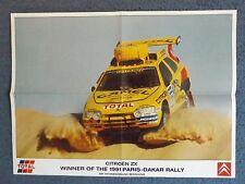 """23"""" x 17"""" RALLY POSTER - ARI VATANEN - 1991 PARIS DAKAR WINNER - CITROEN ZX"""