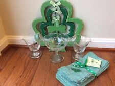 Eamon Glass Hand Engraved Shamrock Compote / Candy Dish ~ Ireland plus extras