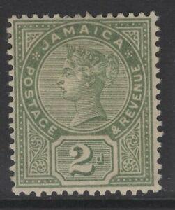 JAMAICA SG28a 1889 2d DEEP GREEN(BROWN GUM) MTD MINT