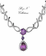 Platinum Plated Chain Bib Necklace/Pendant With Cubic Zirconia (N582-31)