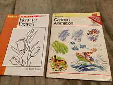 how to draw 1 - cartoon Animation by Walter Foster 2 Books In Lot