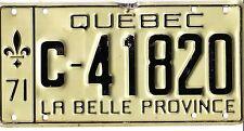 🌟🌟 🌟🌟 AUTHENTIC CANADA 1971 QUEBEC LICENSE PLATE.  C-41820