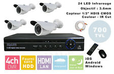 KIT COMPLET 4 CAMERAS VIDEOSURVEILLANCE + ENREGISTREUR DVR Windows iOS Android