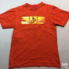 "Mens Mountain Warehouse Orange T Shirt Hiking Graphic Size S P-P 18"" Length 26"""