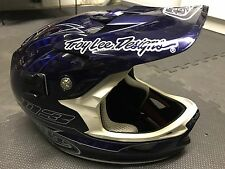 TROY LEE DESIGNS D3 CARBON NAVY PINSTRIPE MTB CYCLING ENDURO HELMET MEDIUM, MINT