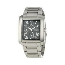Armitron 204870BKSV Men's Black Dial Square Silver-tone Multi-function Bracelet
