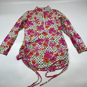 IBKUL 1/4 Zip Mock Neck Floral White Long Sleeve Top Women's Size M