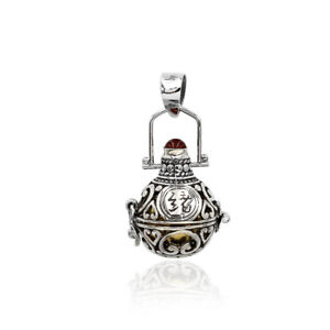 Bali Gemstone Harmony Ball Chime Pendant Necklace in 925 Sterling Silver 4.0 Cm