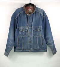 Vintage Marlboro Country Store Jacket Mens Sz Large Trucker Leather Collar Denim