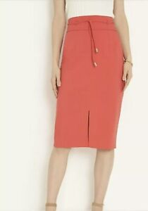 NWT Ann Taylor Petite Knotted Tie Waist Pencil Skirt Hot Hibiscus Salmon Pink 2P