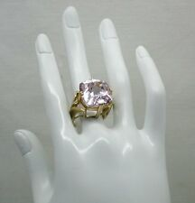 Fabulous Heavy 9ct Gold Large Pale Amethyst And Diamond Dress Ring