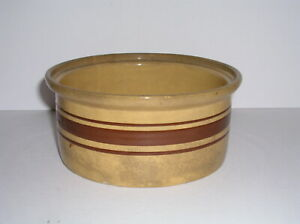 """ANTIQUE RENO WELLER BROWN BANDED YELLOWWARE POTTERY BOWL 7 -3 1/2"""" SIGNED"""