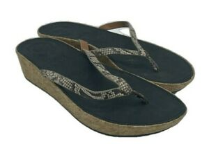 Fitflop Womens Linny Snake Print Thong Cork Sandal Size: 8 US New