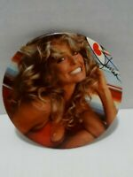 "Vintage Farrah Fawcett Button Pin Pinback Promo Badge 3"" Pin-up Girl Swimsuit 70"