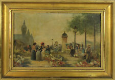 E2-036. SCÈNE DE MARCHÉ. HUILE SUR PANNEAU. SIGNÉ F. VOGLER. LE SIÈCLE XIX.