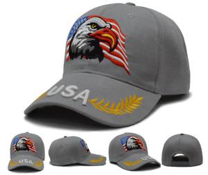 USA American Bald Eagle Shadow Flag Embroidered Baseball Cap Hat Premium US SHIP